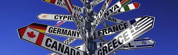 Sign post to many different countries