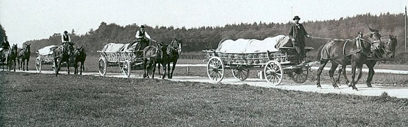 Black and white photo of cheese being transported by horse and cart.