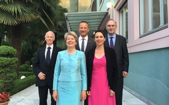 Members of the Swiss delegation to the NATO Parliamentary Assembly spring session at the Swiss Residence, Tirana, Albania.
