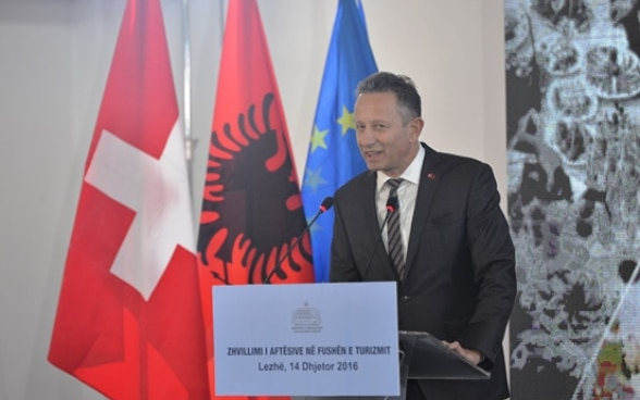 Swiss Ambassador Christoph Graf at the inauguruation of vocational school 'Kolin Gjoka' in Lezhë, Albania.