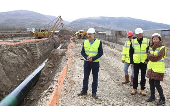 Foreign ambassadors and diplomats at the TAP construction site near Ura Vajgurore, Albania