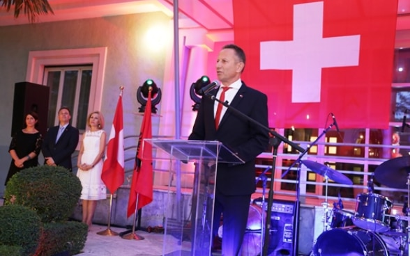 Swiss Ambassador Christoph Graf addressing guests at the reception celebrating the Swiss National Day. ©FDFA