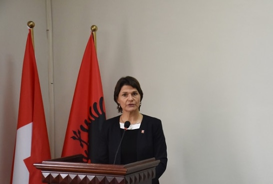 Ambassador Ruth Huber addressing the inauguration of the master's course at Tirana's Medical University.