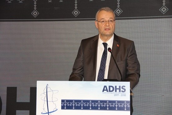 Swiss Ambassador in Albania Adrian Maître speaking at the launching of the demographic and health survey.