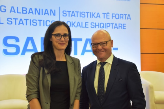 Director of Albania's Insitute of Statistics Delina Ibrahimaj with the Director of the Swiss Federal Office of Statistics Georges-Simon Ulrich at the launching of the new project for improving local registers.