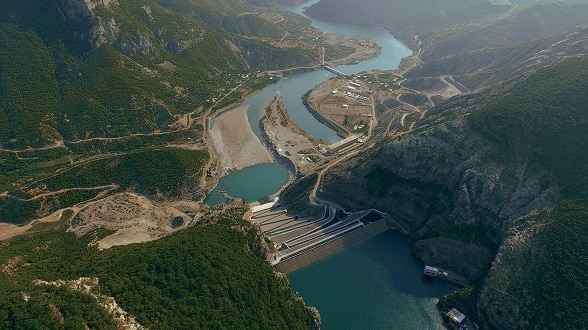 View of hydropower plant over lake Koman, North Albania