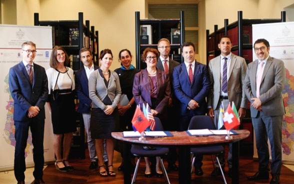 Representatives of international donors and Albania's government after signing agreement on STAR2 project.