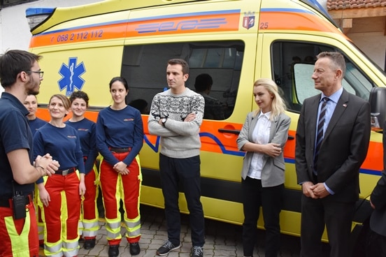 Staff at the Emergency Response Albania with Mayor of Tirana Erion Veliaj and Swiss Ambassador Christoph Graf