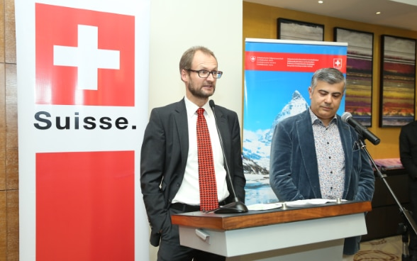 Swiss Ambassador Mr. Stalder delivered a speech at the event.