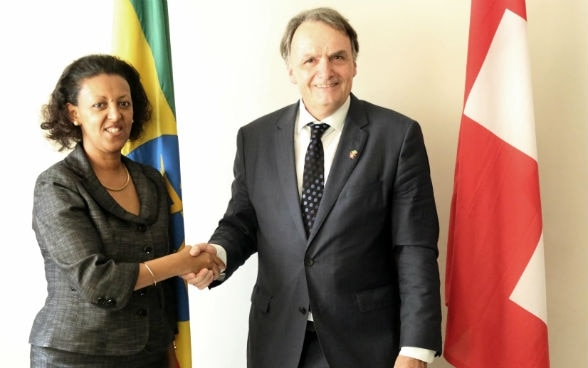 The Swiss Secretary of Migration Mario Gattiker and the Ethiopian State Minister for Foreign Affairs Hirut Zemene