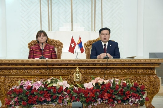 President of National Council of the Swiss Confederation Marina Carobbio and  the Mongolian Parliamentary Speaker G. Zandanshatar