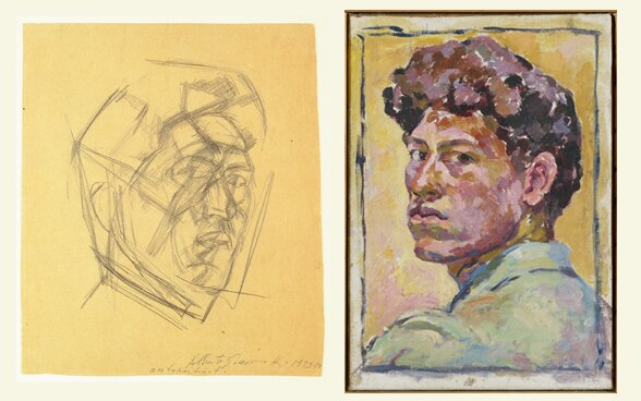 Alberto Giacometti, self protraits, 1923-4 and 1921, © The Estate of Alberto Giacometti (Fondation Giacometti, Paris and ADAGP, Paris) 2015