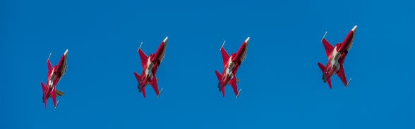 Four jets of the Swiss Air Force aerobatic display team in flight