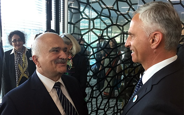 Federal Councilor Didier Burkhalter with Prince Hassan of Jordan at the Global Panel on Water and Peace opening.