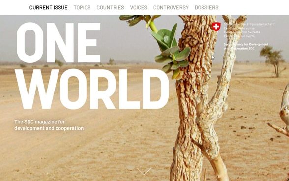 Screenshot of the new online platform of 'Eine Welt'/'Un seul monde'.