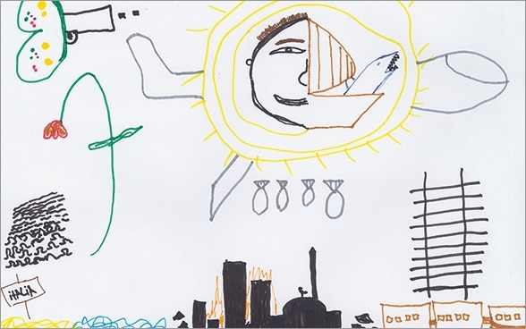 Drawing by a Syrian refugee child showing scenes of an air attack.