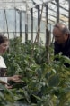The image shows the VET college student Medea getting hands-on instructions in the Senaki College greenhouse on growing vegetables.
