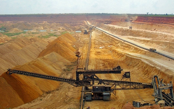 View of a large open-cast phosphate mine in Togo.