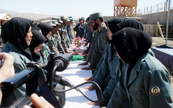 Afghan women police officers in training