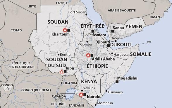 Carte Afrique Avec Soudan Du Sud.Corne De L Afrique Somalie Ethiopie Kenya