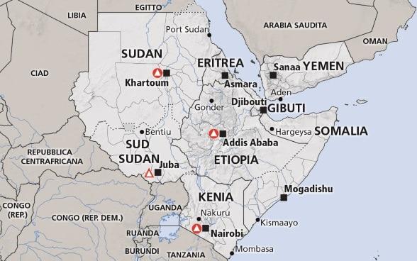 Cartina Dell Africa Orientale.Corno D Africa Somalia Etiopia Kenia
