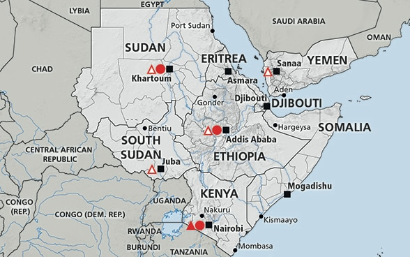 Map of the region Greater Horn of Africa (Somalia, Ethiopia, Kenya, South Sudan, Yemen, Eritrea, Djibouti, Sudan)