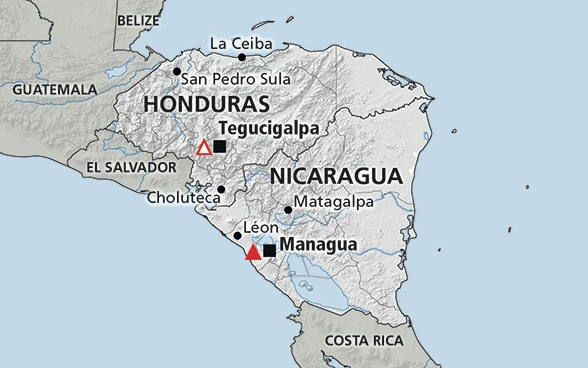 Map of the region Central America (Nicaragua, Honduras)