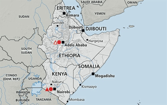 Map of the region Horn of Africa (Somalia, Ethiopia, Kenya, Eritrea, Djibouti)
