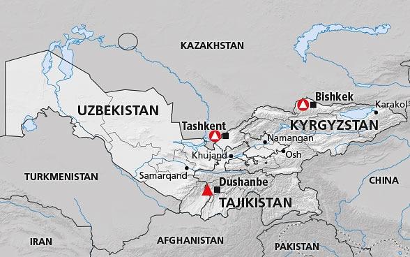 Map Of Asia Kyrgyzstan.Central Asia Kyrgyzstan Tajikistan Uzbekistan