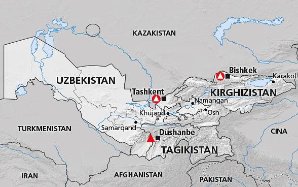 Cartina Politica Asia.Asia Centrale Kirghizistan Tagikistan Uzbekistan