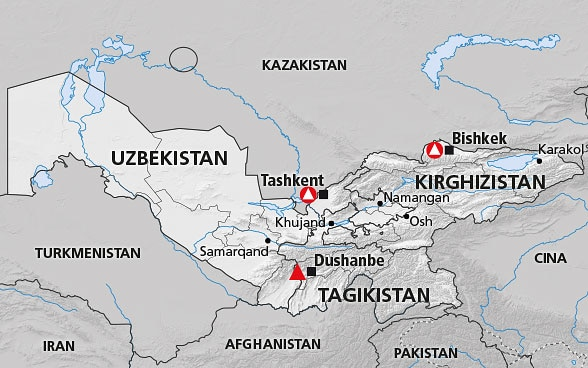Asia Centrale Cartina Geografica.Asia Centrale Kirghizistan Tagikistan Uzbekistan