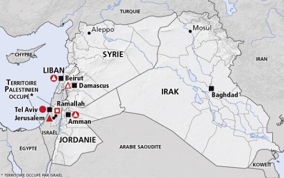 Carte De Lafrique Du Nord Avec Les Pays.Moyen Orient Syrie Liban Jordanie Irak