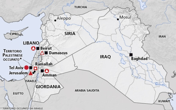 Cartina Giordania E Israele.Medio Oriente Siria Libano Giordania Iraq