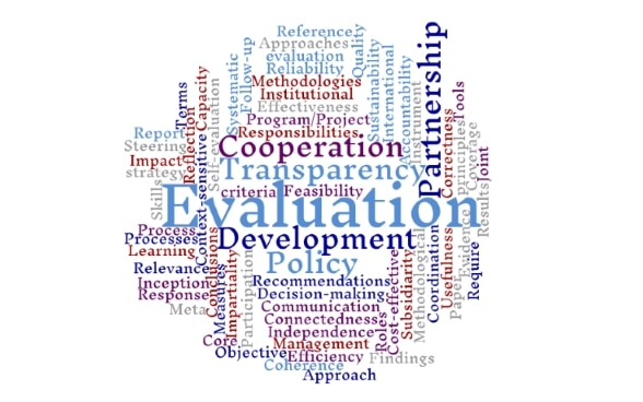 The word cloud represents the most important terms relating to the SDC's impact measuring in different sizes.
