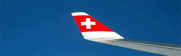 Photo of wing of a Swiss airliner