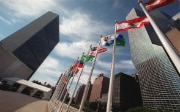 Flags of the UN member states in front of the UN Headquarters in New York.