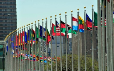 Flags at the UN headquarters.