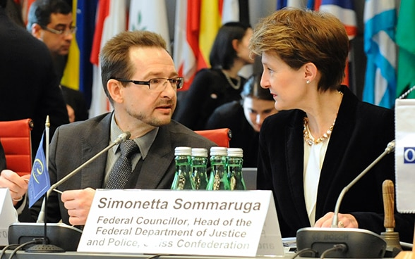 Not4sale! Federal Councellor Sommaruga and the Chair of the OSCE Permanent Council, Ambassador Greminger, at the opening of a joint Council of Europe and OSCE conference on combating trafficking in human beings, Vienna Hofburg
