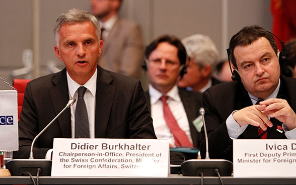 Swiss Foreign Minister and OSCE Chairperson-in-Office, Didier Burkhalter and Serbian Foreign Minister Ivica Dačić at the opening session of the 2014 Annual Security Review Conference in Vienna