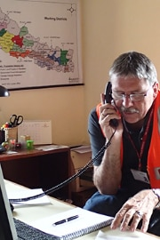 Swiss ambassador to Nepal, Urs Herren, giving a telephone interview.