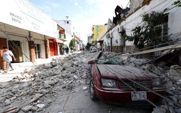 Instable buildings and rubble in a street in Jojutla, the state of Morelos, Mexico.