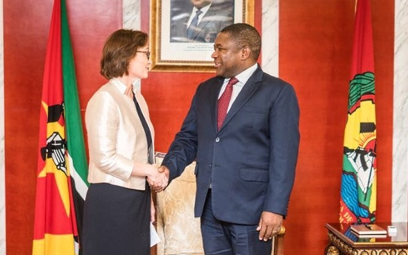 State Secretary Baeriswyl being received by Mozambique's President Filipe Jacinto Nyusi on 5 October 2017 in Maputo.