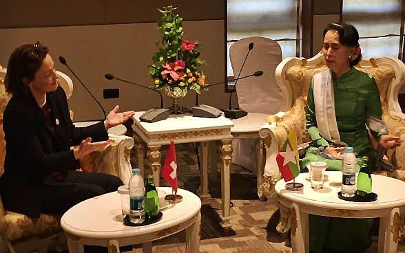 FDFA State Secretary Pascale Baeriswyl holds a bilateral meeting with Myanmar Foreign Minister Aung San Suu Kyi on the sidelines of the Asia-Europe-Meeting (ASEM) in Naypyidaw.
