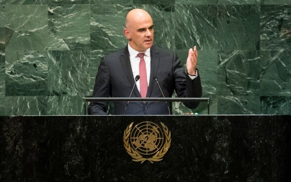 Alain Berset gives his speech at the 73rd United Nations General Assembly in New York.