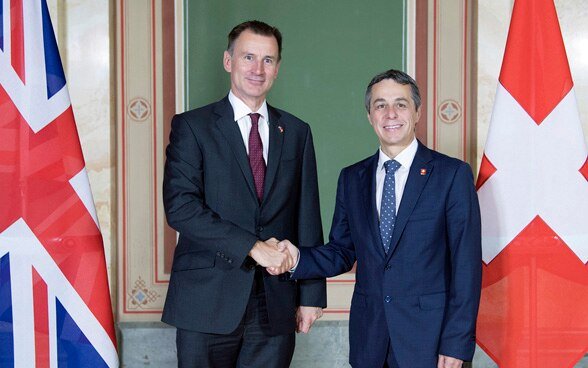 Federal Councillor Ignazio Cassis met his British counterpart Jeremy Hunt in Bern.
