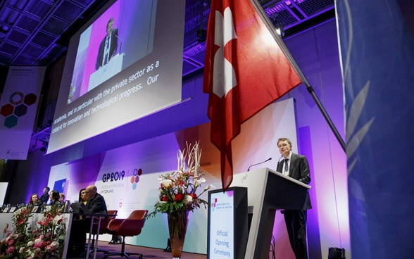 Manuel Sager, right, Head of Swiss Agency for Development and Cooperation (SDC), delivers his statement, during the opening of the Global platform for disaster risk reduction, in Geneva, 15.05.2019.