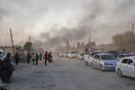 People flee bombardments in Ras al Ayn, northeastern Syria