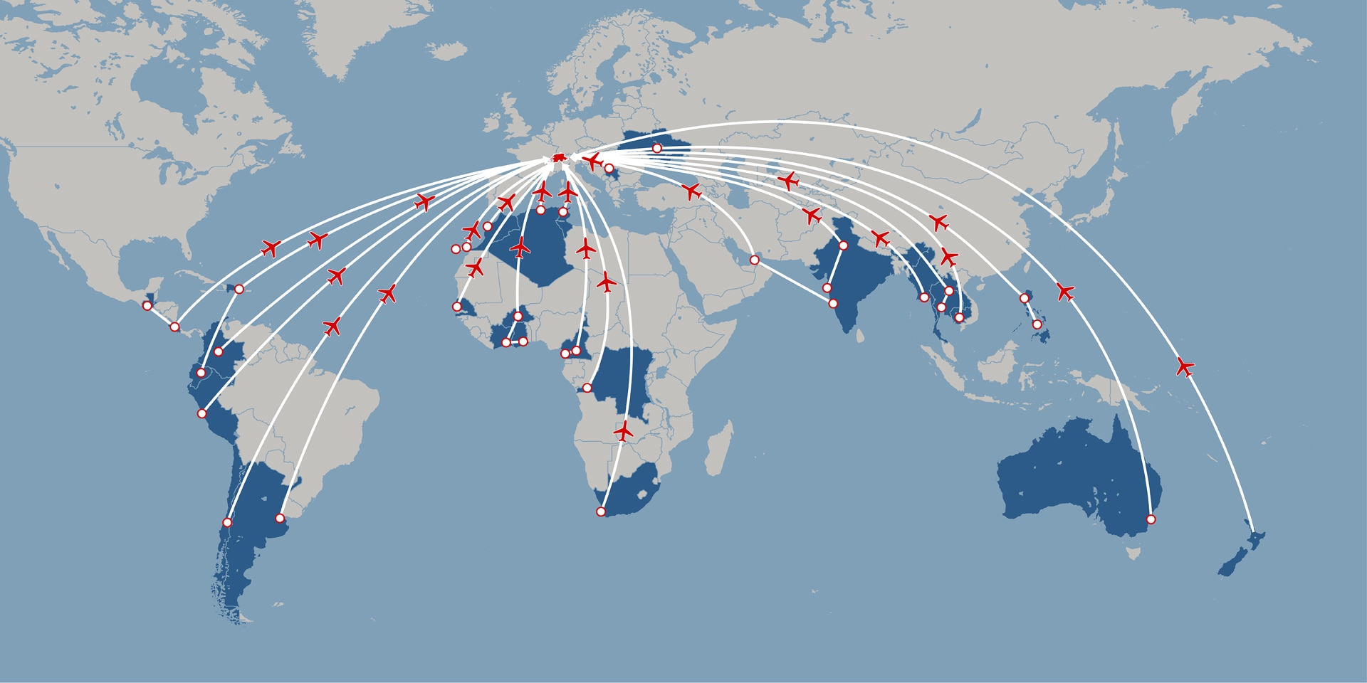 Map of the world showing the destinations of repatriation flights.
