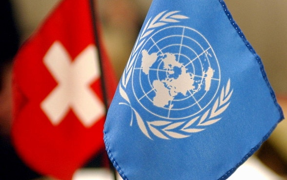 The Swiss and UN flags.