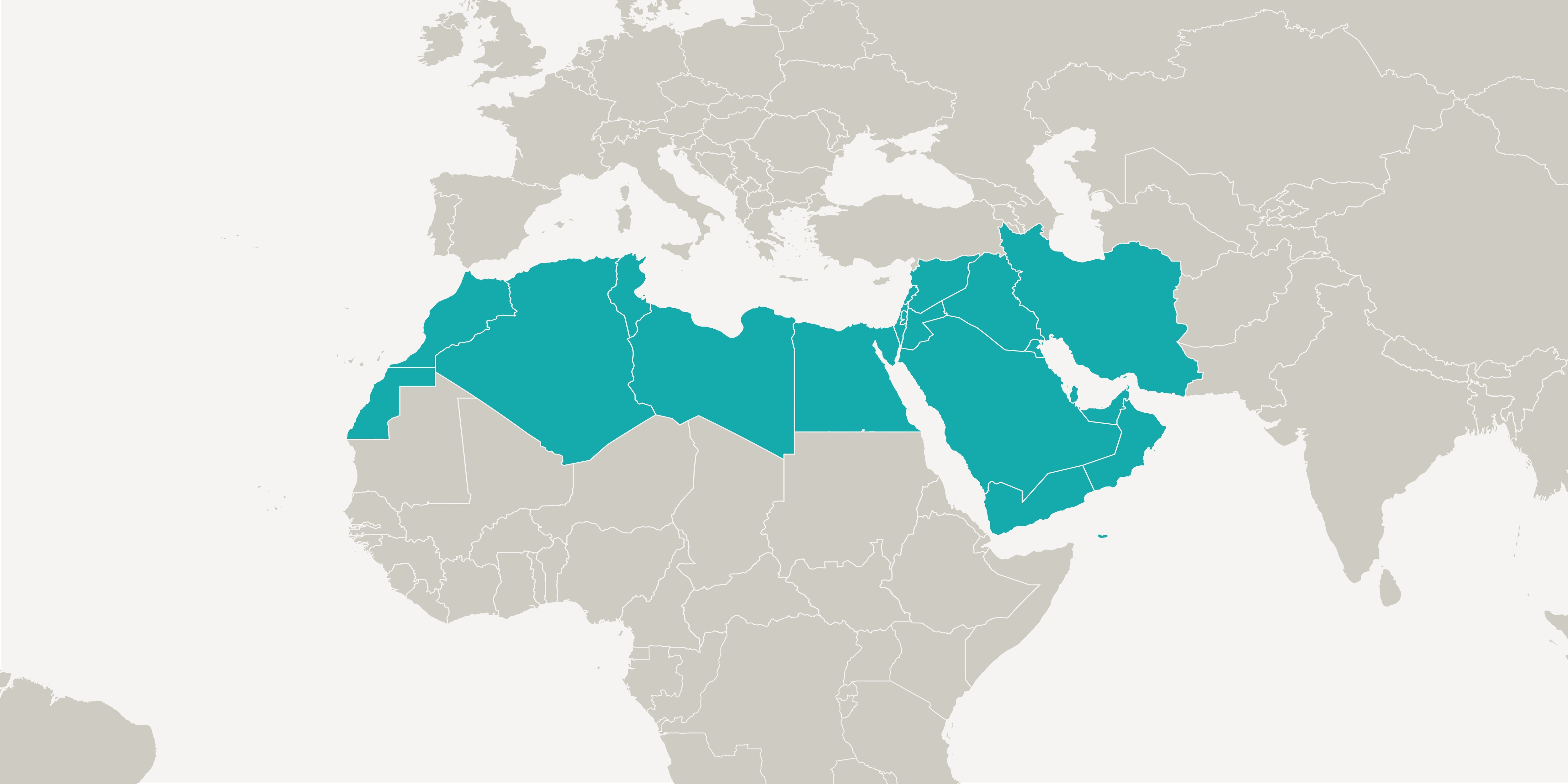 A graphic shows a section of a world map. The 18 countries of the MENA (Middle East and North Africa) region are highlighted in colour.